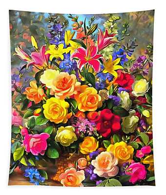 Floral Bouquet In Acrylic Tapestry