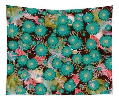 Floral Flurry Blue Green Tapestry