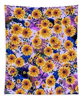 Floral Flurry Orange Violet  Tapestry