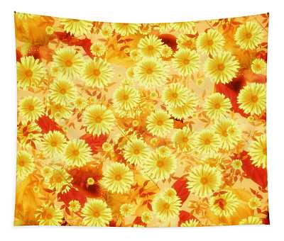 Floral Flurry Orange Yellow Tapestry