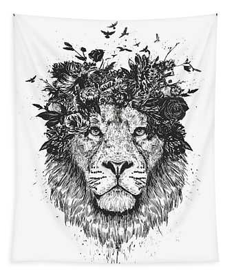Floral Lion Tapestry