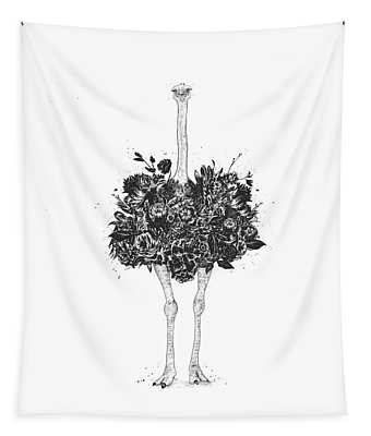 Floral Ostrich Tapestry