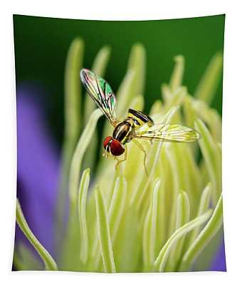Flower Fly On Clematis Stamens Tapestry