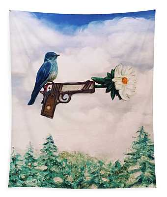 Flower In A Gun- Bluebird Of Happiness Tapestry