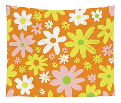 Flower Power Pattern Tapestry