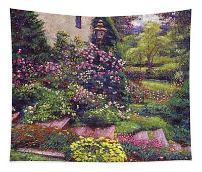 Flowers Along The Cottage Steps Tapestry