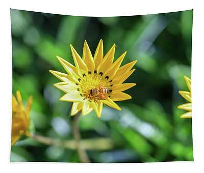 Yellow Flowers And A Bee Tapestry