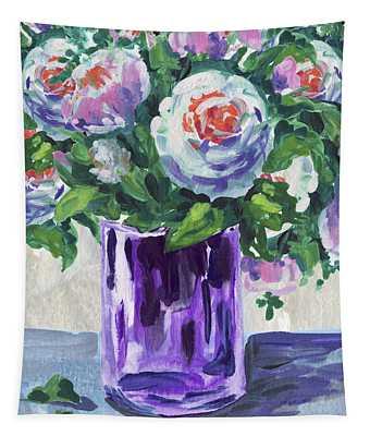 Flowers Bouquet In Purple Glass Tapestry