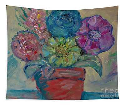 Flowers In A Clay Pot Tapestry