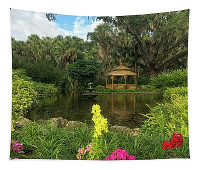 Flowers To Gazebo By The Lake Tapestry