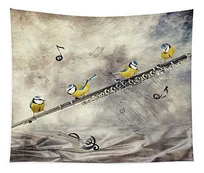 Flute Birds Players Tapestry