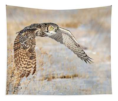 Flying Great Horned Owl Tapestry