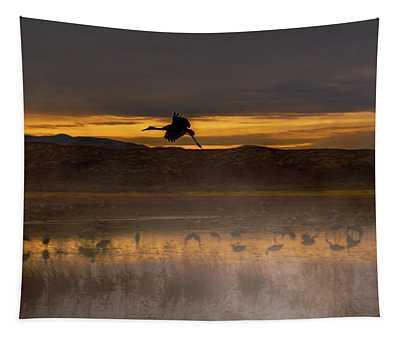 Flying Over Crane Pond Tapestry