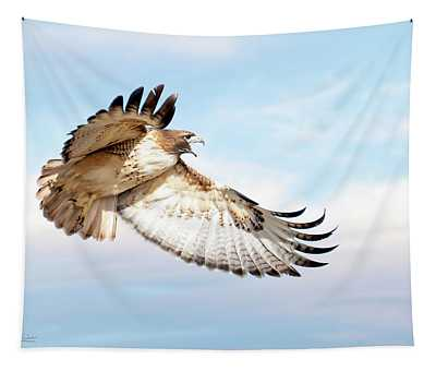 Flying Red-tailed Hawk Tapestry
