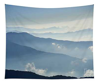 Tapestry featuring the photograph Fog Above Mountain In Valley Himalayas Mountains by Raimond Klavins