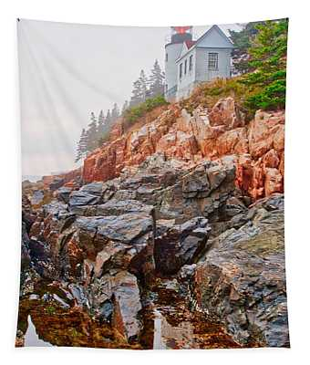 Foggy Bass Harbor Lighthouse Tapestry