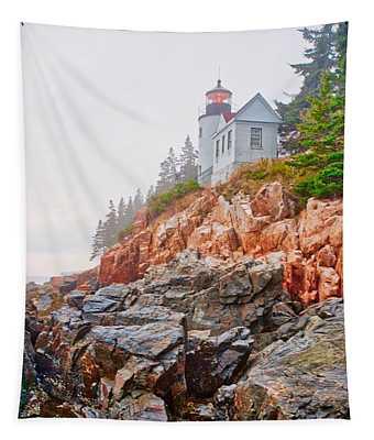 Foggy Bass Harbor Lighthouse Tapestry