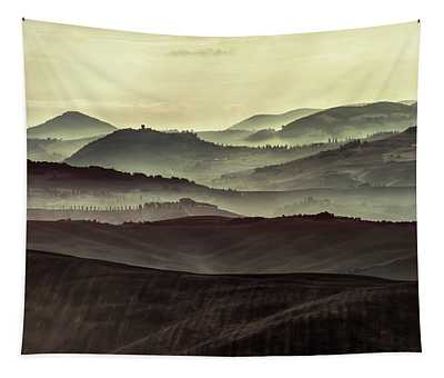 Tapestry featuring the photograph Foggy Early Morning In Toscany by Jaroslaw Blaminsky