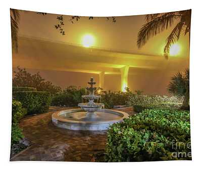 Foggy Fountain And Bridge Tapestry