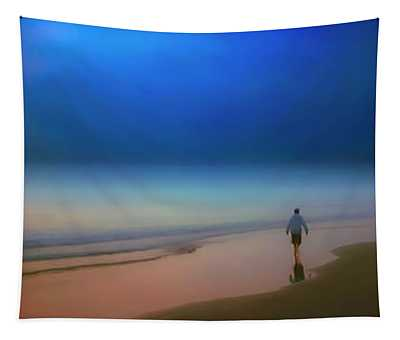 Foggy Sunrise Atlantic Ocean Single Person Walking 2730200119 Tapestry