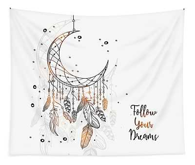 Follow Your Dreamcatcher - Boho Chic Ethnic Nursery Art Poster Print Tapestry