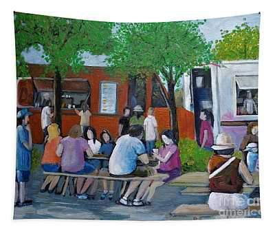 Food Truck Gathering Tapestry