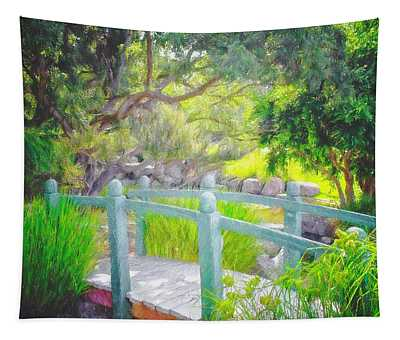 Footbridge In The Garden Tapestry