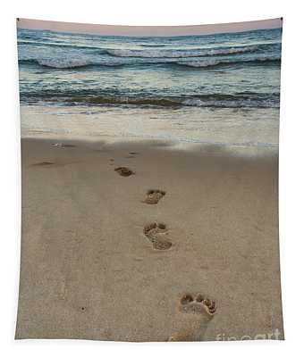 Footprints At Sunset Tapestry