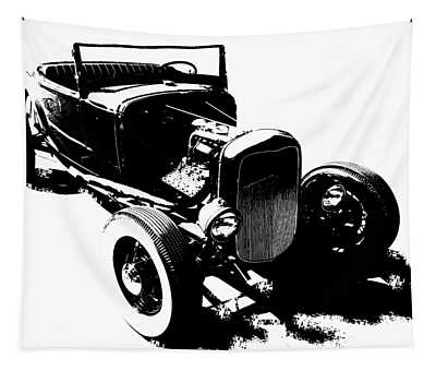 Ford Flathead Roadster Two Blk Tapestry