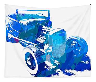 Ford Flathead Roadster Two Blue Pop Tapestry