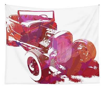 Ford Flathead Roadster Two Pop Tapestry