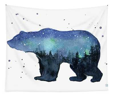 Forest Bear Watercolor Galaxy Tapestry