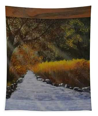 Forest Sunrays Over Water Tapestry