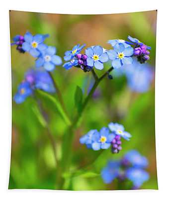 Forget Me Not Wildflowers Tapestry