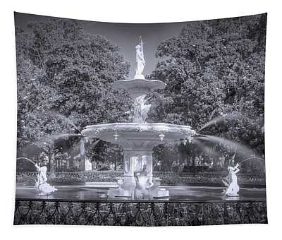 Forsyth Fountain Black And White Tapestry