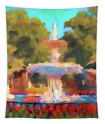 Forsyth Watercolor Fountain Tapestry