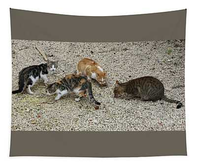Four Foraging Felines Tapestry