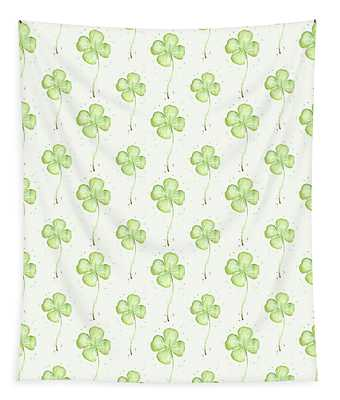 Four Leaf Clover Lucky Charm Pattern Tapestry