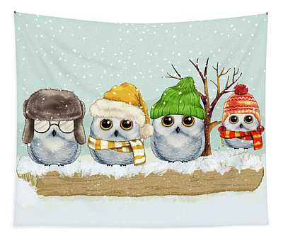 Four Winter Owls Tapestry