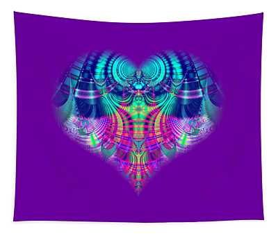 Fractal Abstract Multicolored Plaid Heart Tapestry