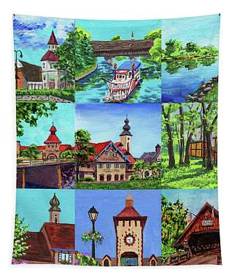Frankenmuth Downtown Michigan Painting Collage IIi Tapestry