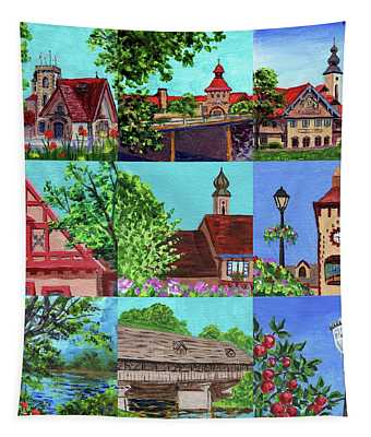 Frankenmuth Downtown Michigan Painting Collage V Tapestry