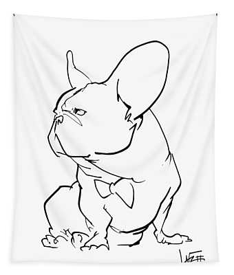 French Bulldog Gesture Sketch Tapestry
