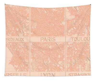 Tapestry featuring the digital art French Cities Blueprint Maps Alt by Helge