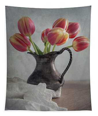 Fresh Red Tulips Tapestry