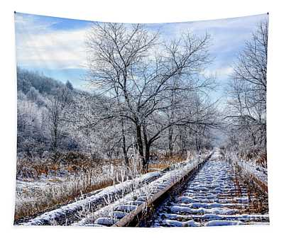 Frosty Morning On The Railroad Tapestry