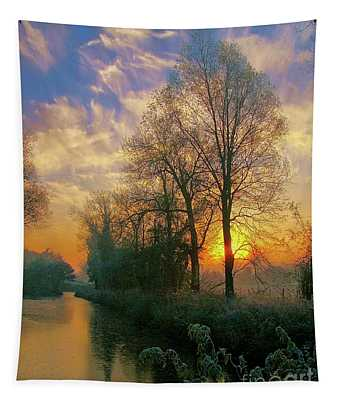 Frosty Winter Sunrise Tapestry