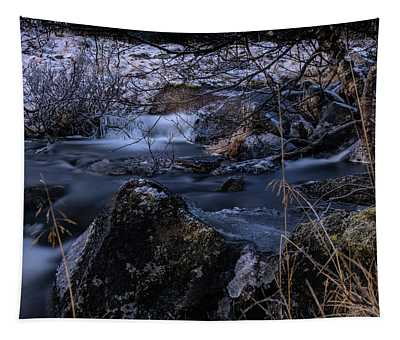 Frozen River And Winter In Forest. Long Exposure With Nd Filter Tapestry