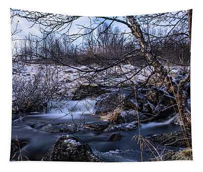 Frozen Tree In Winter River Tapestry