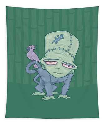 Frunkee - Frankenstein Monkey Creature Tapestry